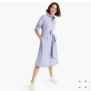 NWT J. Crew Cotton Tie Waist Shirt Dress